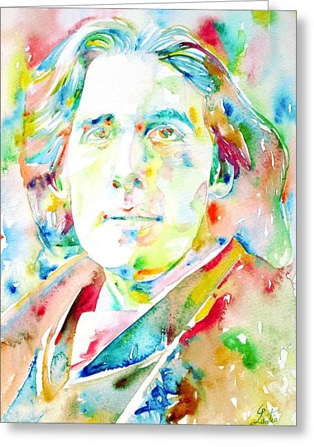 Oscar Wilde Paintings Greeting Cards - Oscar Wilde Watercolor Portrait.1 Greeting Card by Fabrizio Cassetta