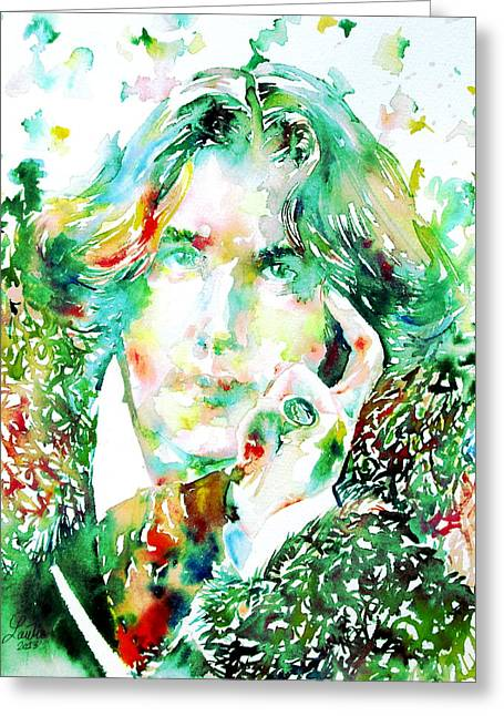 Dorian Gray Greeting Cards - Oscar Wilde Watercolor Portrait.2 Greeting Card by Fabrizio Cassetta