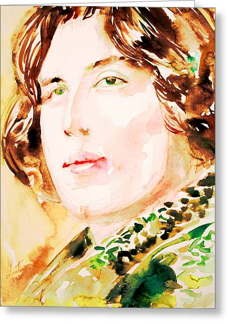 Oscar Wilde Paintings Greeting Cards - Oscar Wilde Watercolor Portrait.3 Greeting Card by Fabrizio Cassetta