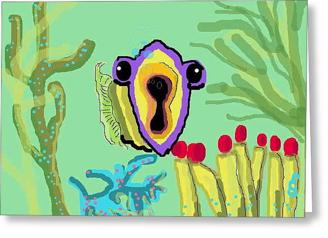 Fish Digital Art Greeting Cards - Oscar with Tube Worms Greeting Card by Eve Silver