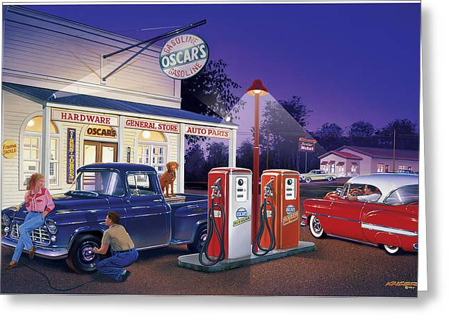 Petrol Station Greeting Cards - Oscars General Store Greeting Card by Bruce Kaiser