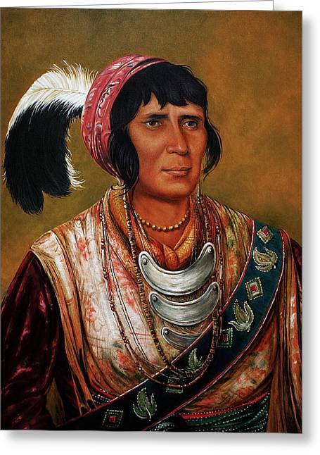 Icons Prints On Canvas Greeting Cards - Osceola the Black Drink a Warrior of Great Distinction by John Travisano after George Catlin Greeting Card by John Travisano