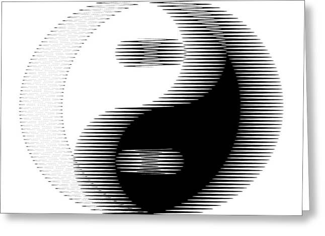 Yang Greeting Cards - Oscilloscopic Yin Yang Greeting Card by Daniel Hagerman