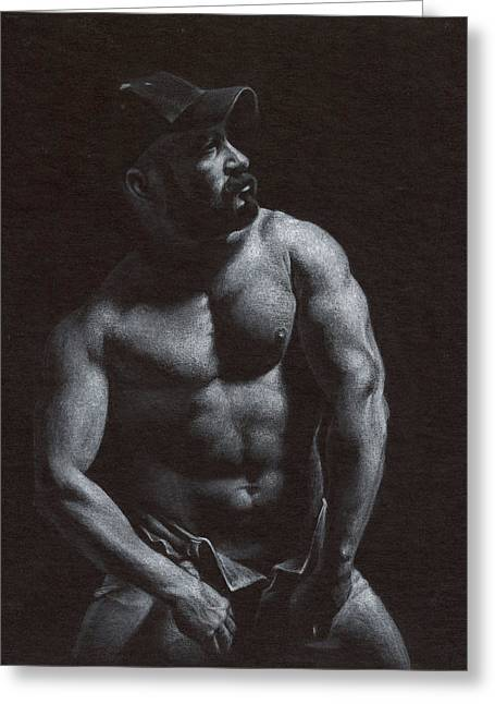 Male Nude Drawing Drawings Greeting Cards - Oscuro 8 Greeting Card by Chris  Lopez
