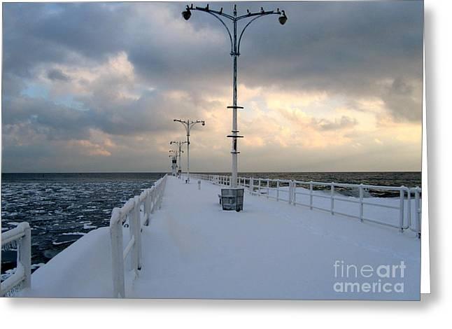 Oshawa Pier In December Greeting Card by Avis  Noelle