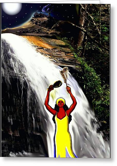 Spiritual Portrait Of Woman Greeting Cards - Oshun -Goddess of Love-2 Greeting Card by Carmen Cordova