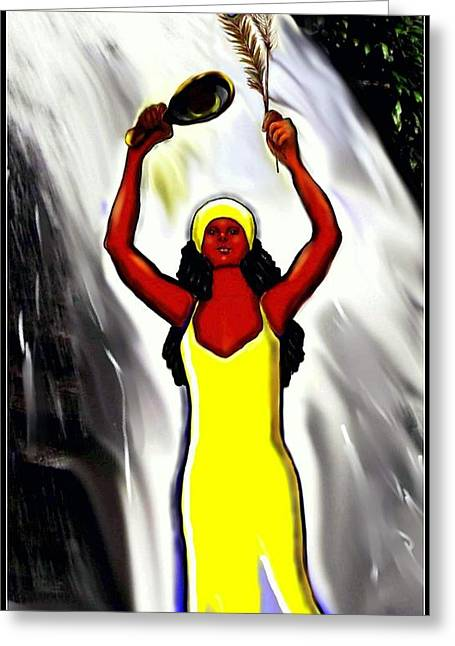 Spiritual Portrait Of Woman Greeting Cards - Oshun -Goddess of Love -4 Greeting Card by Carmen Cordova