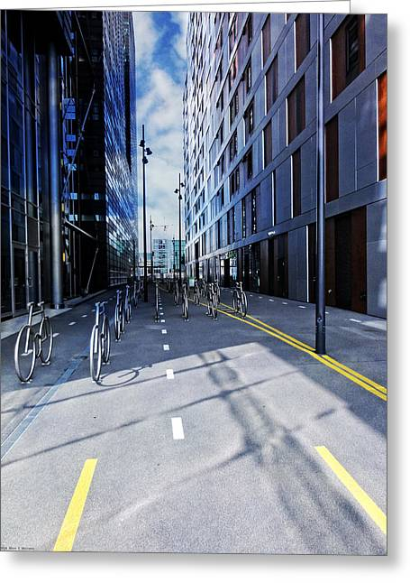 No 3 Greeting Cards - Oslo Architecture No. 3 -Bicycles Greeting Card by Mary Machare