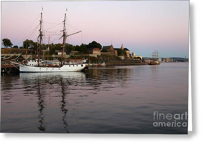 Oslo Harbor At Sunset Greeting Card by Carol Groenen