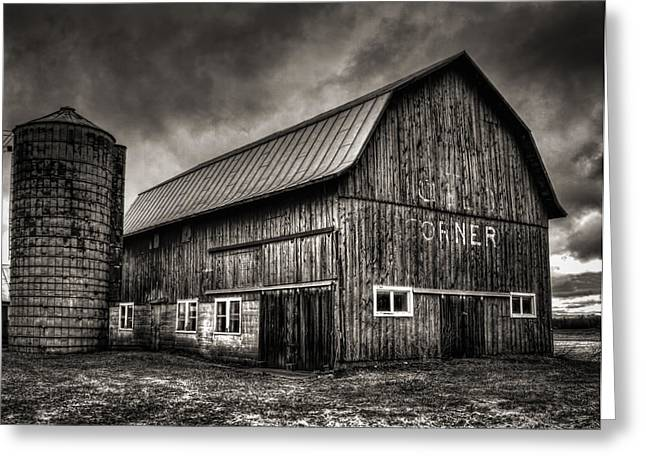 Wisconsin Barn Greeting Cards - Oslo Corner in Black and White Greeting Card by Thomas Young