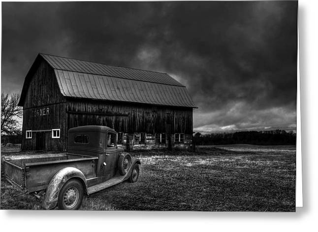 White Truck Greeting Cards - Oslo Corners Farm Greeting Card by Thomas Young