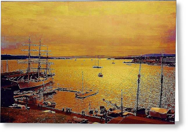 Oslo Greeting Cards - Oslo Fjord Greeting Card by Rollin Jewett