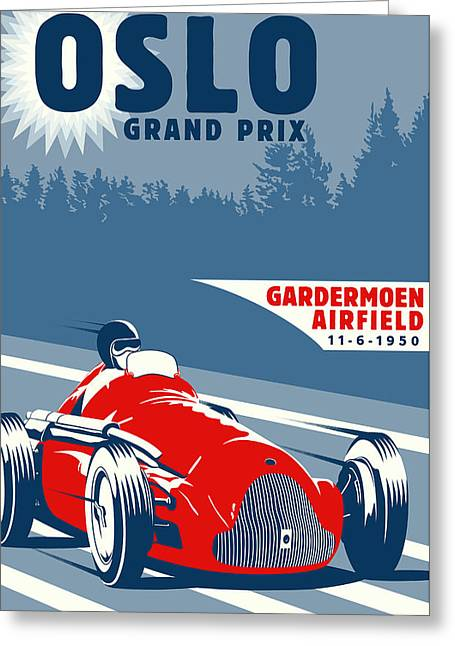 Oslo Grand Prix 1950 Greeting Card by Georgia Fowler