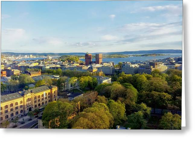 Oslo Norway Harbor View Greeting Card by Mountain Dreams