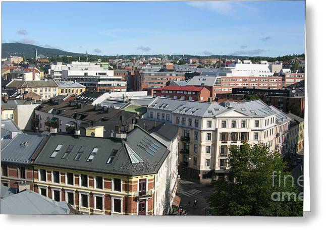 Oslo Greeting Cards - Oslo Rooftops Greeting Card by Carol Groenen