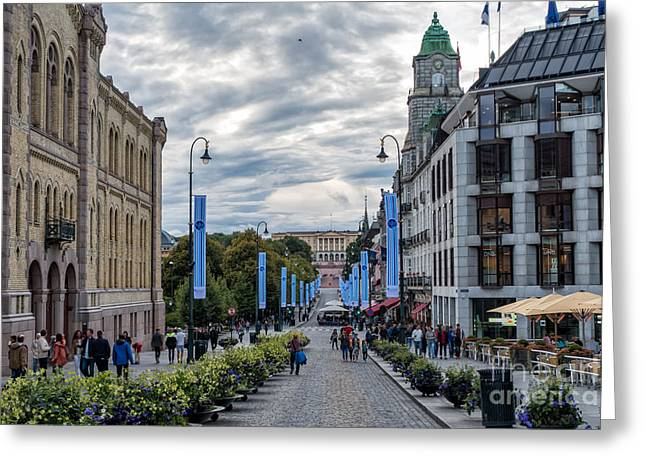 Oslo Greeting Cards - Oslos main street Karl Johans Gate with the Royal Palace Greeting Card by Frank Bach