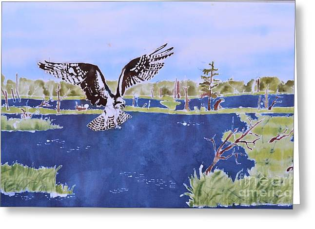 Raptor Tapestries - Textiles Greeting Cards - Osprey at Tuttle Marsh Greeting Card by Kate Ford