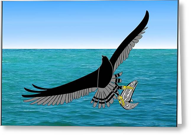 Osprey Drawings Greeting Cards - Osprey over Ocean Greeting Card by Fred Croydon