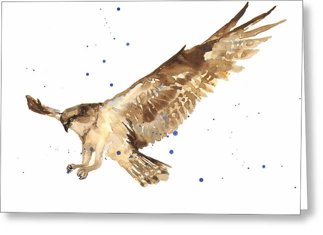 Bird In Flight Greeting Cards - Osprey Painting Greeting Card by Alison Fennell