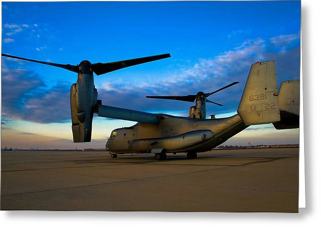 Military Aircraft Greeting Cards - Osprey Sunrise Series 1 of 4 Greeting Card by Ricky Barnard