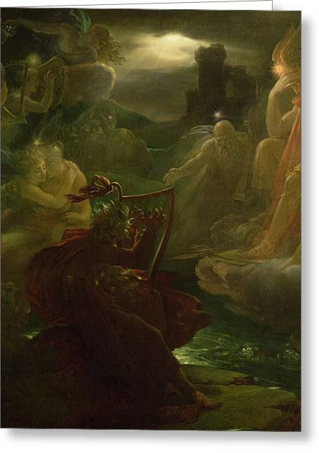 Ghost Story Greeting Cards - Ossian Conjuring up the Spirits  Greeting Card by Francois Pascal Simon Gerard