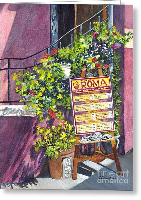 Menu Greeting Cards - Osteria Roma Greeting Card by Carol Wisniewski