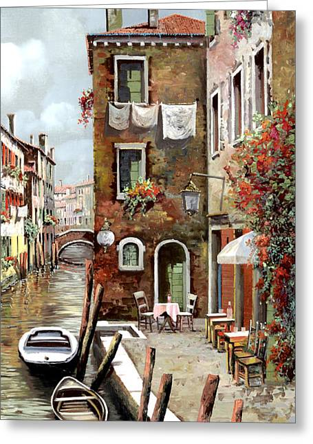 Venedig Greeting Cards - Osteria Sul Canale Greeting Card by Guido Borelli