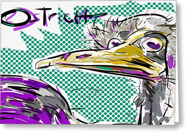 Ostrich Feathers Digital Art Greeting Cards - Ostrich Greeting Card by Brett LaGue