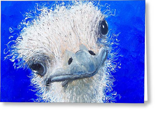 Lovers Art On Print Greeting Cards - Ostrich Painting Waldo by Jan Matson Greeting Card by Jan Matson