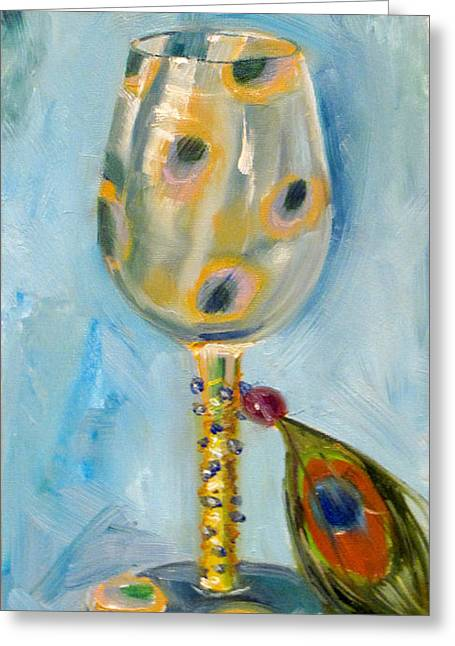 Ostrich Wine Glass Greeting Card by Vicki Ross