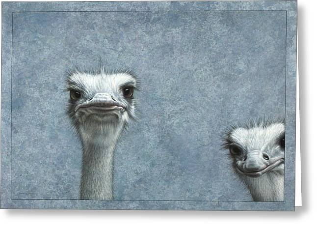Blue-gray Greeting Cards - Ostriches Greeting Card by James W Johnson
