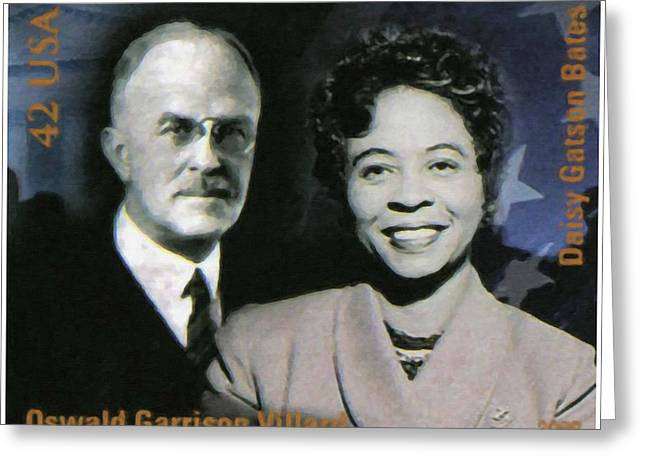 Abolition Paintings Greeting Cards - Oswald Garrison Villard and Daisy Gatson Bates Greeting Card by Lanjee Chee