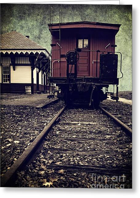 Caboose Photographs Greeting Cards - Other side of the tracks Greeting Card by Edward Fielding