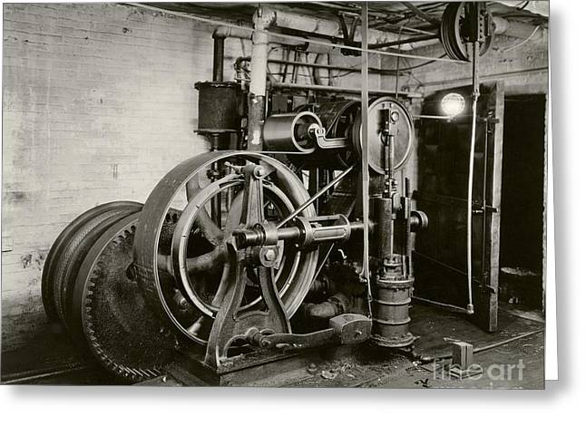 Cog Greeting Cards - Otis Elevator Engine, 1932 Greeting Card by Irma And Paul Milstein Division Of United States History, Local History And Genealogy