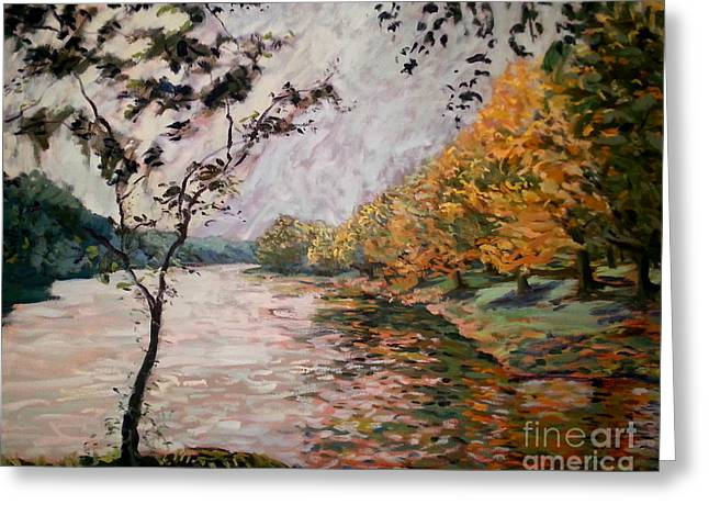 Autumn Leaf On Water Paintings Greeting Cards - Otono Rahway Park  Greeting Card by Monica Caballero