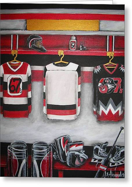 Hockey Paintings Greeting Cards - Ottawa 67s Goalie Locker Room Greeting Card by Jill Alexander