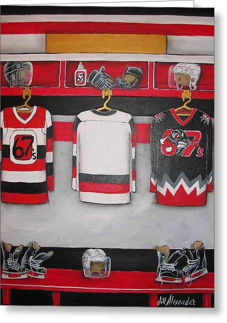 Hockey Paintings Greeting Cards - Ottawa 67s Player Locker Room Greeting Card by Jill Alexander