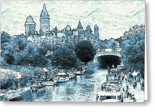 Ottawa Skyline Greeting Cards - Ottawa Blue - Canada Greeting Card by Peter Fine Art Gallery  - Paintings Photos Digital Art