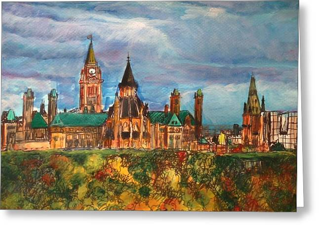 Ottawa Skyline Greeting Cards - Ottawa in Autumn Greeting Card by Lin-Lin Mao