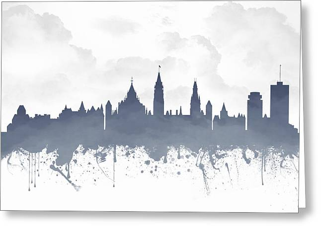 Town Mixed Media Greeting Cards - Ottawa Ontario Skyline - Blue 03 Greeting Card by Aged Pixel