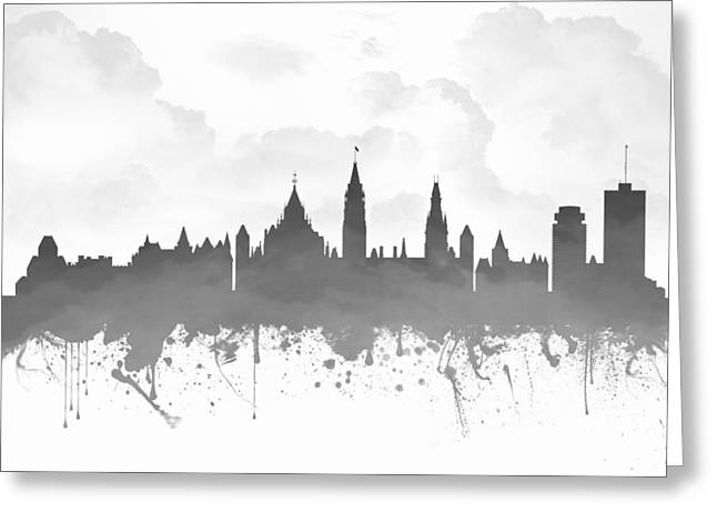 Town Mixed Media Greeting Cards - Ottawa Ontario Skyline - Gray 03 Greeting Card by Aged Pixel