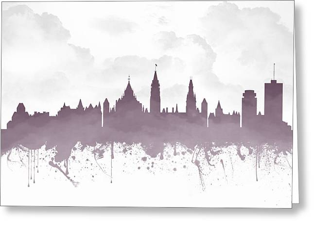 Town Mixed Media Greeting Cards - Ottawa Ontario Skyline - Purple 03 Greeting Card by Aged Pixel