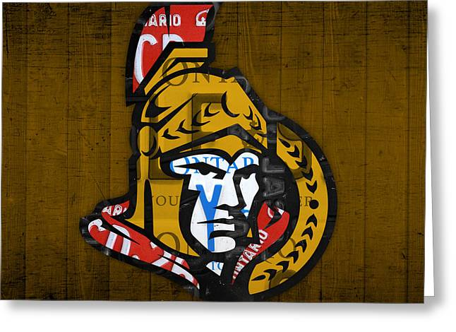Ottawa Greeting Cards - Ottawa Senators Hockey Team Retro Logo Vintage Recycled Ontario Canada License Plate Art Greeting Card by Design Turnpike
