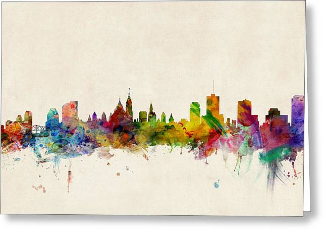 Canadian Greeting Cards - Ottawa Skyline Greeting Card by Michael Tompsett
