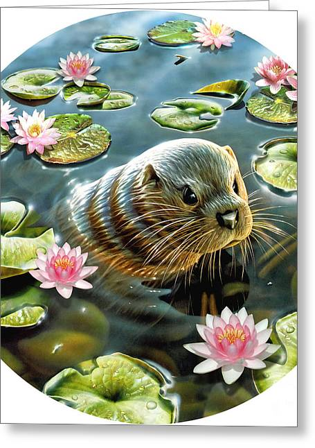 Lotus Leaf Greeting Cards - Otter in Water Lilies Greeting Card by Adrian Chesterman