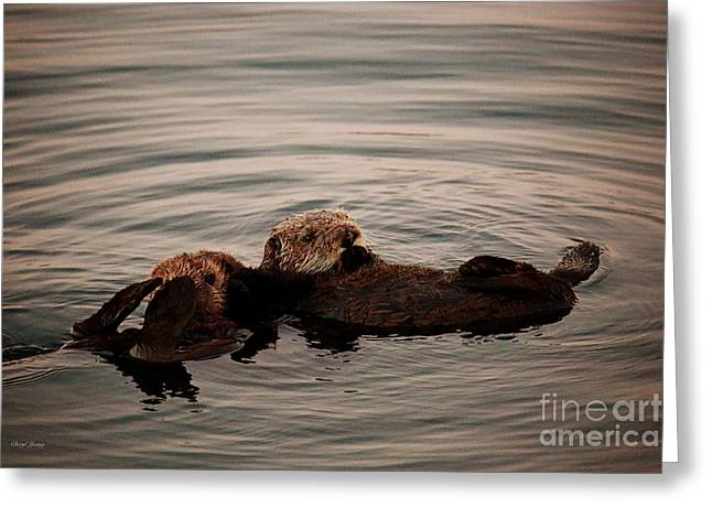 Ocean Mammals Greeting Cards - Otter Love Greeting Card by Cheryl Young