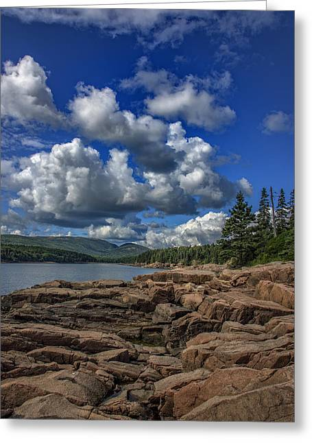 Maine Clouds Greeting Cards - Otter Point Afternoon Greeting Card by Rick Berk