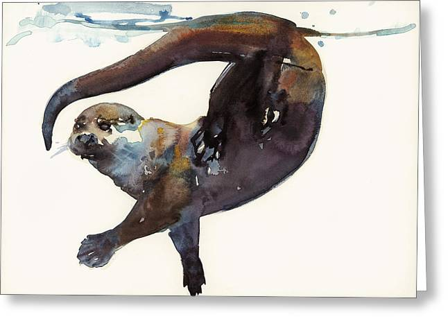 Animal Paw Print Greeting Cards - Otter Study II  Greeting Card by Mark Adlington