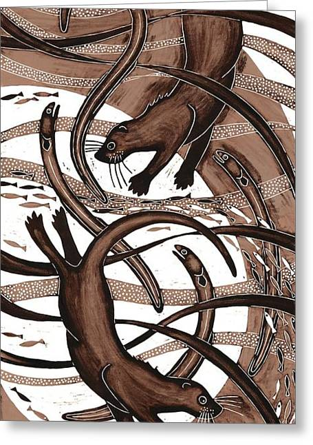 Printmaking Greeting Cards - Otter With Eel, 2013 Woodcut Greeting Card by Nat Morley