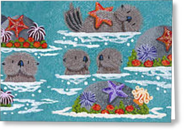 Otter Paintings Greeting Cards - More Monterey Otters Greeting Card by Merry  Kohn Buvia